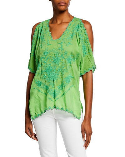 Kelly Cold-Shoulder Georgette Blouse w/ Tonal Embroidery