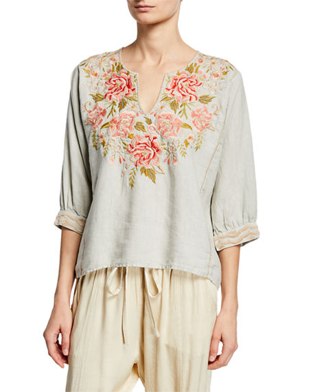 Johnny Was Tops CECILE FLORAL-EMBROIDERED BOXY LINEN PEASANT BLOUSE