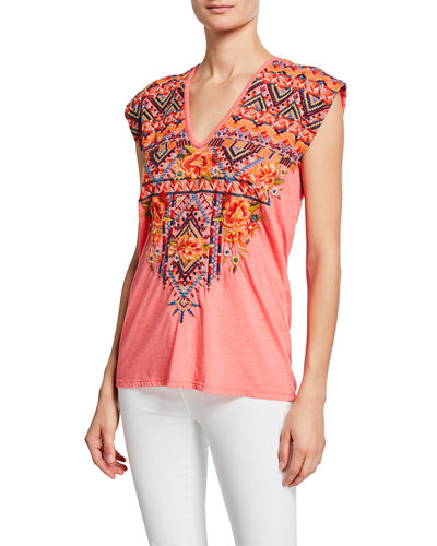Sentrie Scoop-Neck Embroidered Top