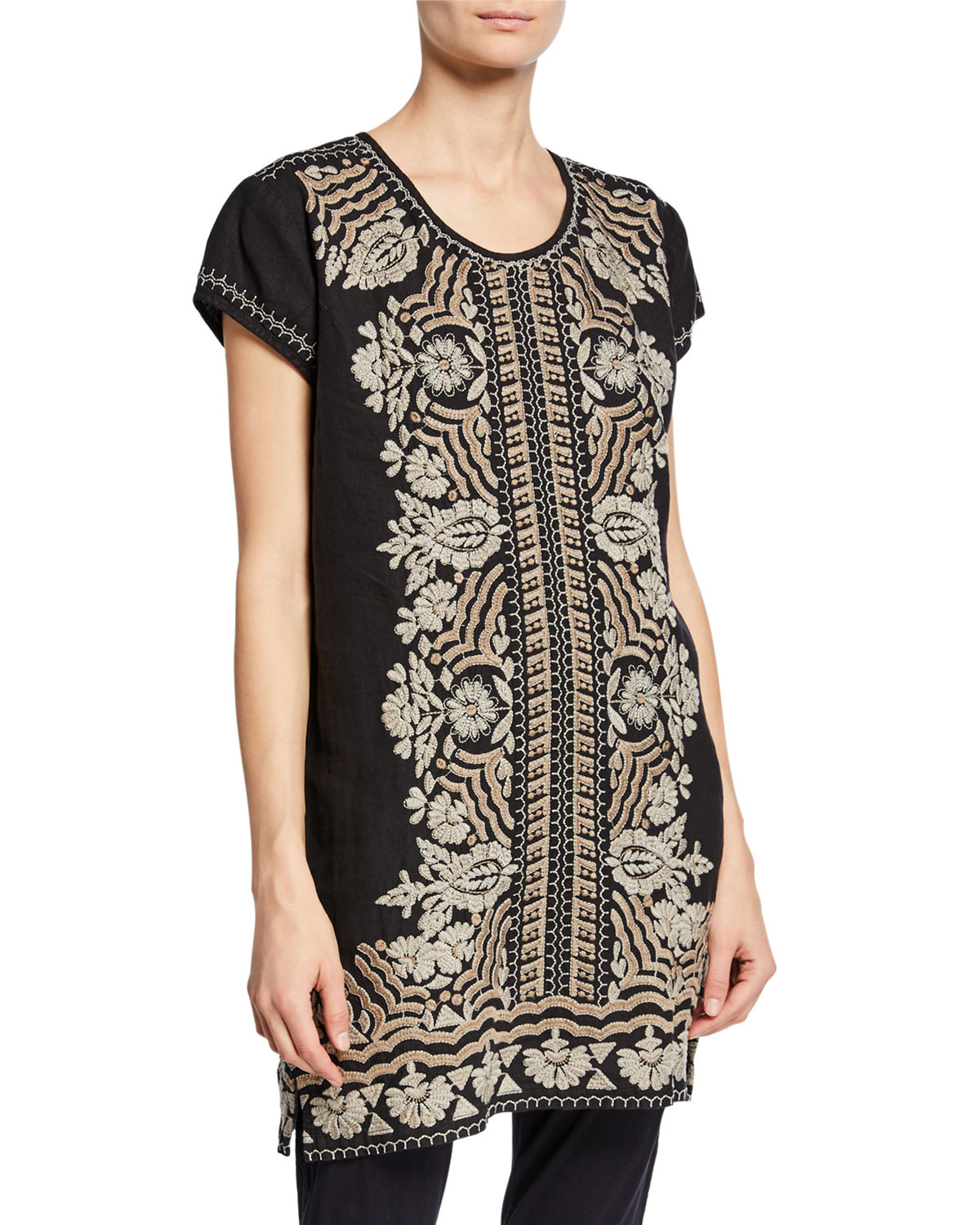 Johnny Was Dresses RITA EMBROIDERED SHORT-SLEEVE LINEN PEASANT TUNIC DRESS