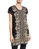 Johnny Was Rita Embroidered Short-Sleeve Linen Peasant Tunic