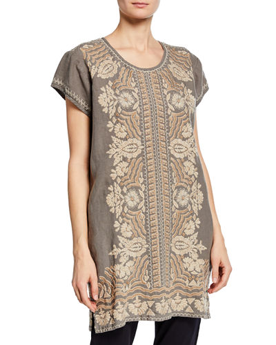 Rita Embroidered Short-Sleeve Linen Peasant Tunic Dress