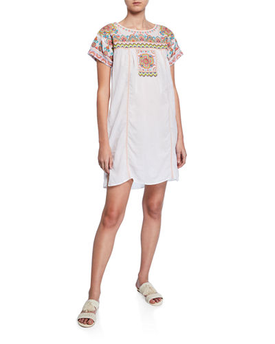 Tamia Short-Sleeve Voile Tunic Dress