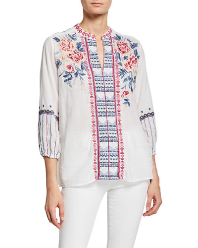 Kiernan Embroidered Paris Effortless 3/4-Sleeve Voile Blouse