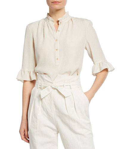 Hammered Silk Button-Front Top