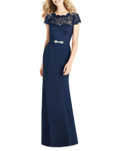 Sweetheart Illusion Cap-Sleeve Marquis Lace & Crepe Column Bridesmaids Dress