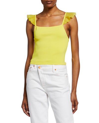 Marg Ruffle-Strap Crop Top