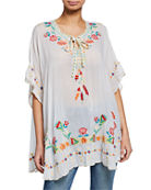 Johnny Was Dakota Embroidered Tie-Neck Poncho Top and