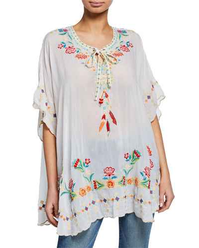Johnny Was Dakota Embroidered Tie-Neck Poncho Top