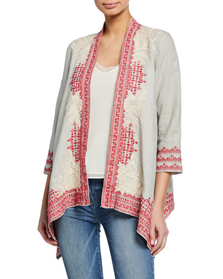 Johnny Was Tops CAMILLE EMBROIDERED DRAPED LINEN CARDIGAN
