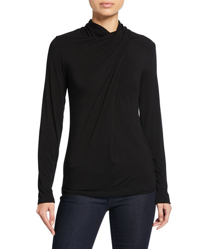 Carrie Shirred Turtleneck Long-Sleeve Top