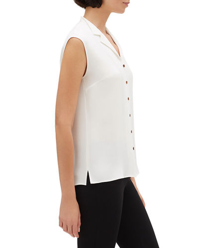 Lafayette 148 New York Nigella Button-Front Silk Double Georgette Sleeveless Blouse