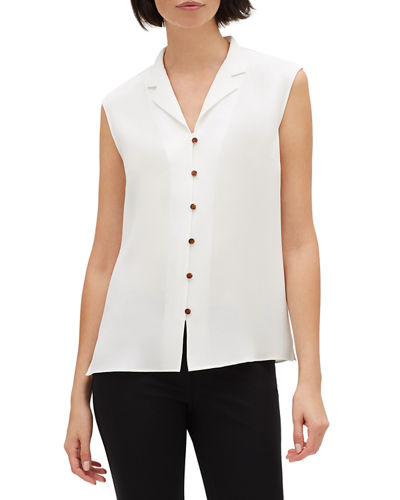 Nigella Button-Front Silk Double Georgette Sleeveless Blouse