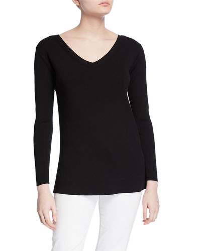 Wide V-Neck Long-Sleeve Matte Crepe Sweater