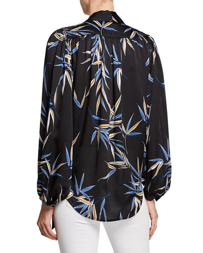 Equipment Cleone Printed Button-Front Tie-Neck Long-Sleeve Top