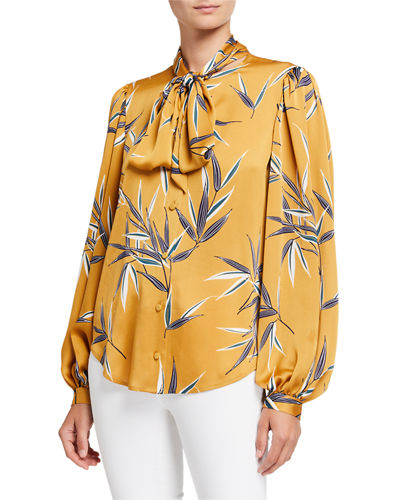Cleone Printed Button-Front Tie-Neck Long-Sleeve Top