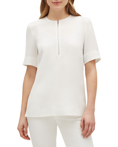 Durham Finesse Crepe Zip-Front Short-Sleeve Blouse