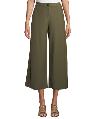 High-Waist Wide-Leg Cropped Stretch Crepe Pants