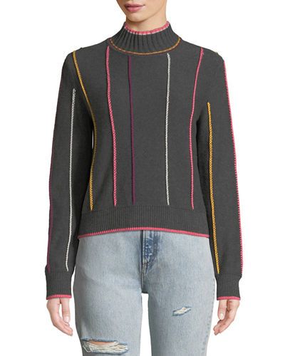 Tom Embroidered Turtleneck Pullover Sweater