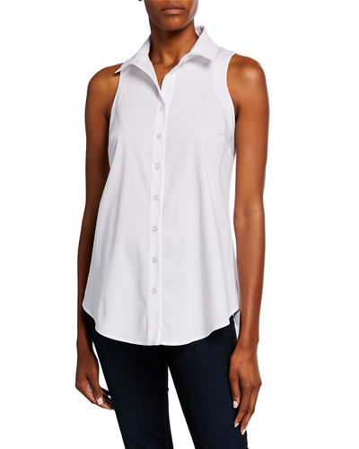 Shelly Button-Front Sleeveless Poplin Top with Button-Back