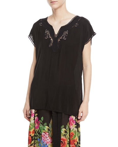Plus Size Navi Embroidered Top