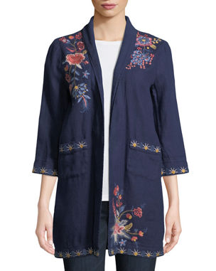 99ec14895 Johnny Was Plus Size Tivva Heavy Linen Embroidered Coat