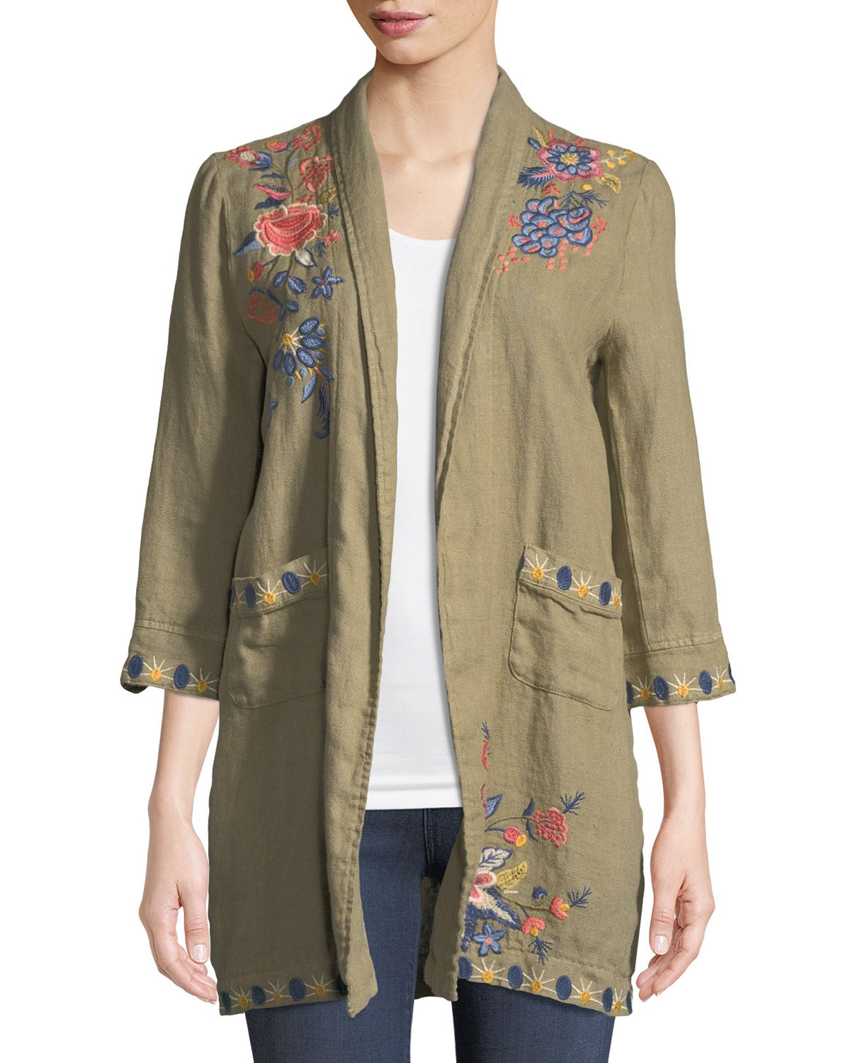 Johnny Was Coats TIVVA HEAVY LINEN EMBROIDERED COAT