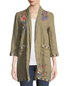 Johnny Was Tivva Heavy Linen Embroidered Coat