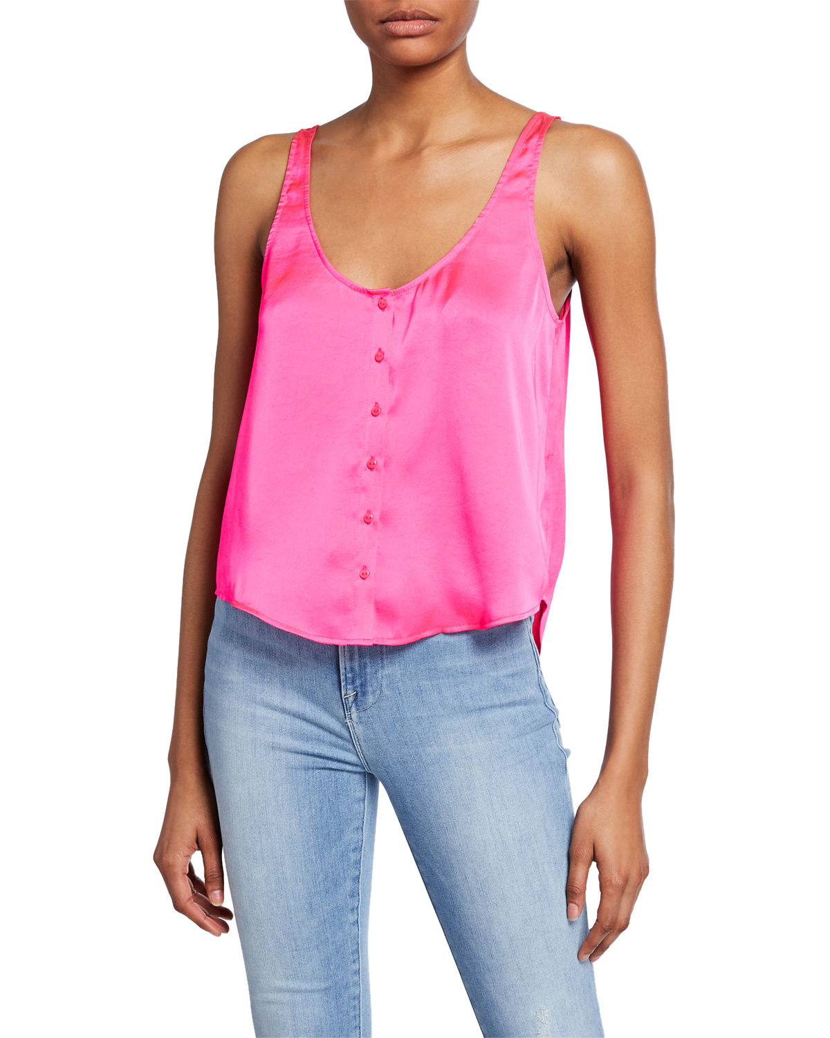 0a92599f 7 For All Mankind Scoop-Neck Button-Up Satin Tank In Paradise Pink ...