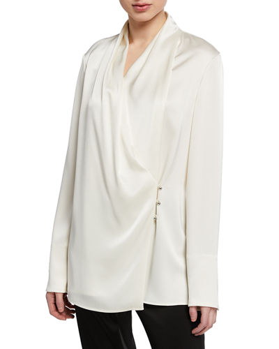 St. John Collection Liquid Satin Cowl-Neck Long-Sleeve Wrap Blouse w/ Side Buttons