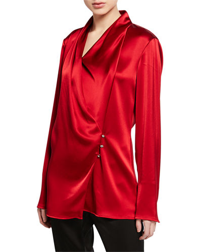 Liquid Satin Cowl-Neck Long-Sleeve Wrap Blouse w/ Side Buttons