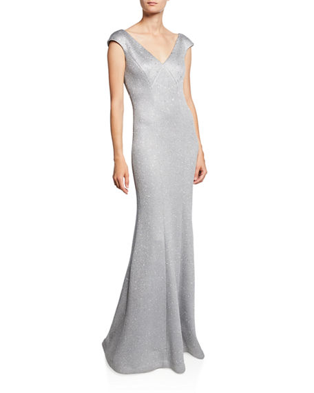 St. John Collection Sequin Birdseye Knit V-Neck Sleeveless Gown