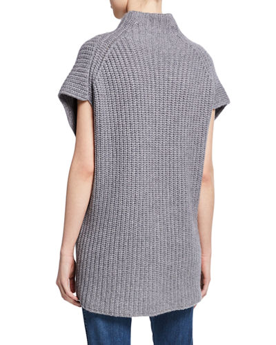 St. John Collection Funnel-Neck Short-Sleeve Cashmere Sweater