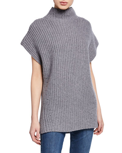 Funnel-Neck Short-Sleeve Cashmere Sweater