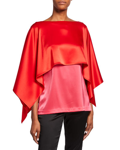 Liquid Satin Bateau-Neck Top with Contrast Cape