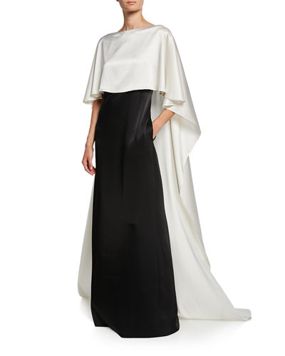 St. John Collection Colorblock Bateau-Neck V-Back Liquid Satin Gown with Cape