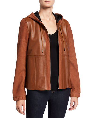 Mixed-Media Zip-Front Leather Hoodie Jacket
