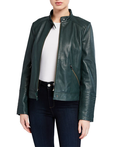 Leather Moto Jacket with Ribbed Cuffs