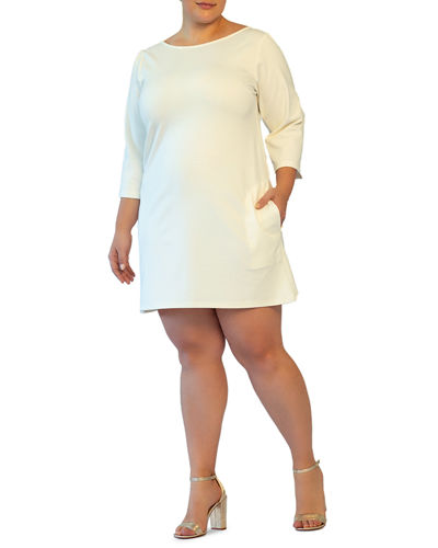 Plus Size Boat-Neck 3/4-Sleeve A-Line Ponte Dress