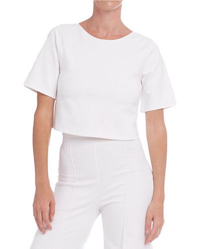 Short-Sleeve Cropped Ponte T-Shirt