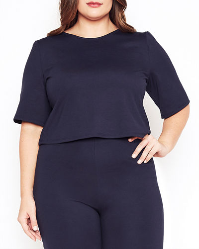 Plus Size Short-Sleeve Cropped Ponte T-Shirt