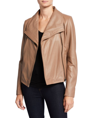 Wide-Collar Zip-Front Leather Jacket