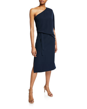 78c1e7ab7934 Halston Heritage Draped One-Shoulder Asymmetric Dress