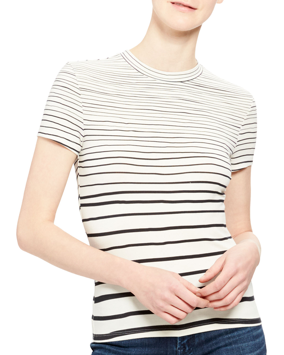 Theory RUBRIC STRIPED SHORT-SLEEVE TINY TEE
