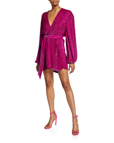 Retrofete Gabrielle Sequined Wrap Dress
