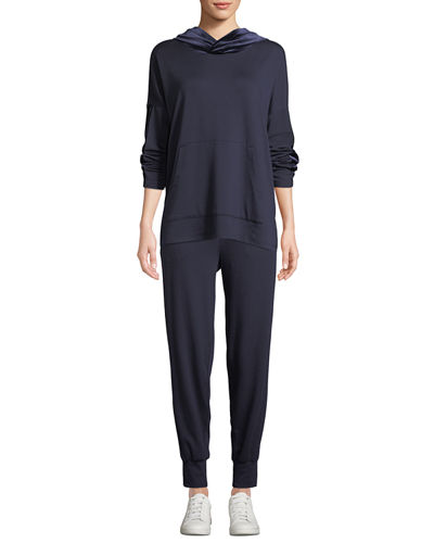 Eileen Fisher Velvet Side-Stripe Terry Track Pants