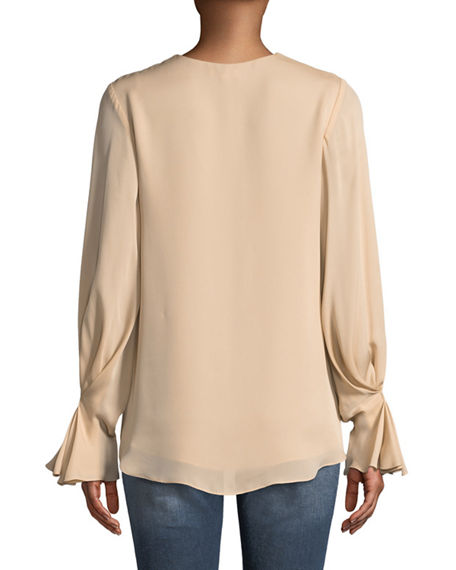 d50ed2898a88f Joie Abekwa Long-Sleeve Silk Top In Pink