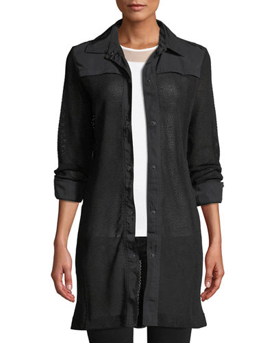 Katia Snap-Front Mesh Trench Coat