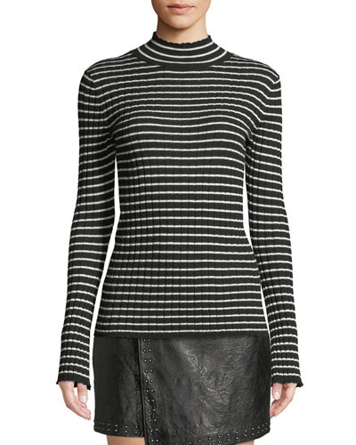 Gestina Striped Mock-Neck Sweater