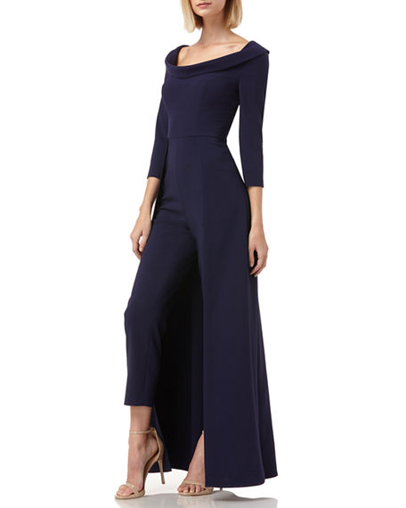 Image 2 of 4: Kay Unger New York Walk Thru Boat-Neck 3/4-Sleeve Jumpsuit w/ Crepe Overlay Skirt
